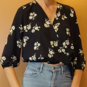 Honey Punch Flower-Print Wrap Blouse